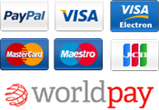 We accept PayPal, Visa, Mastercard, Maestro, American Express and Solo