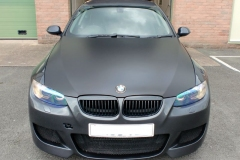 BMW 3-Series matt black bonnet wrap
